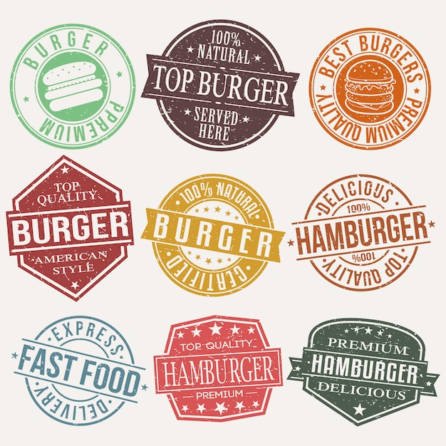 Burger fast food restaurant timbre Vecteur Premium