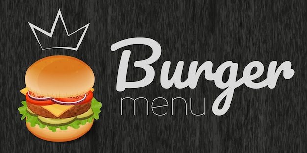 Burger Sur Fond Noir Bois. Menu Burger. Objet Pour Emballage, Publicités, Menu. Vecteur Premium