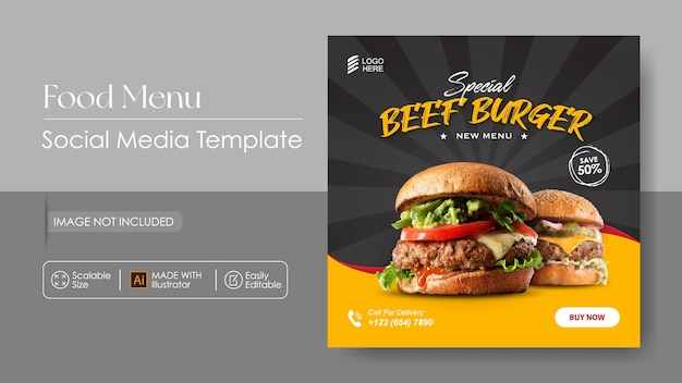 Burger Food Sosial Promotion Des Médias Et Modèle De Conception Instagram Vecteur Premium