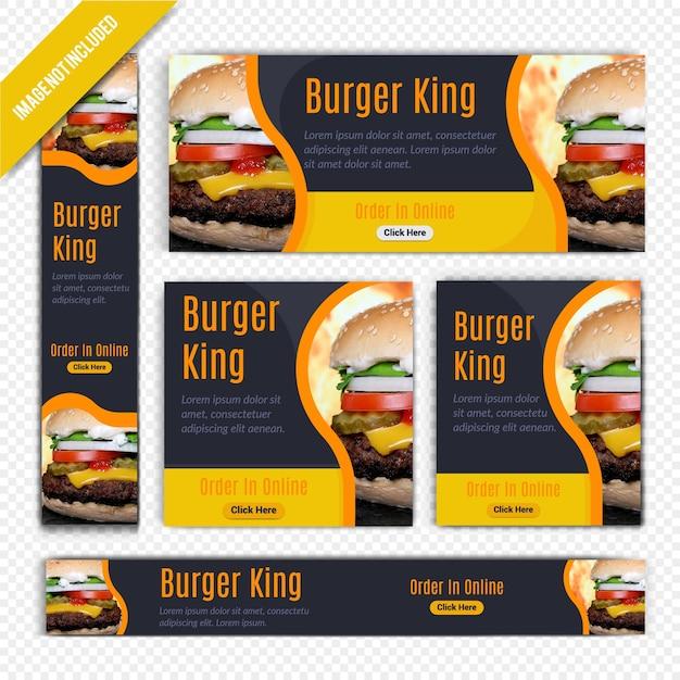 Burger food web banner set pour le restaurant Vecteur Premium