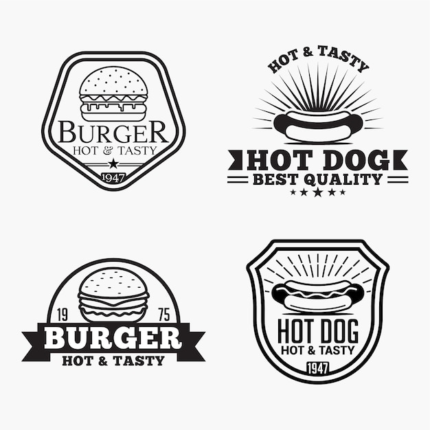 Burger hot dog logos badges Vecteur Premium