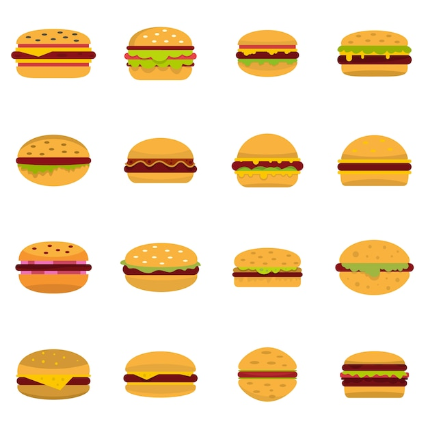 Burger icons set Vecteur Premium