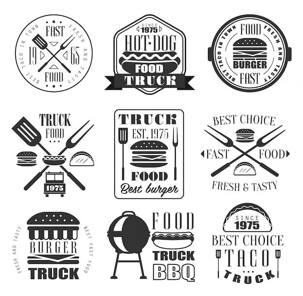 Burger Et Jeu D'icônes De Fast-food. Vecteur Premium