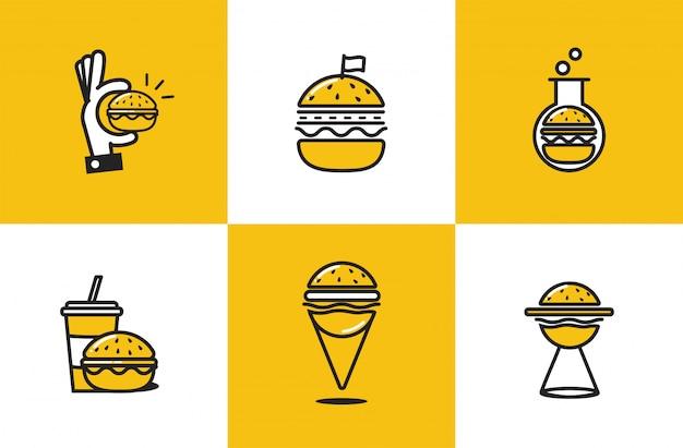 Burger Ligne Art Icon Set Vecteur gratuit