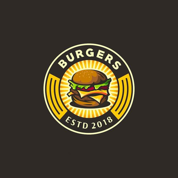 Burger logo jaune et foncé Vecteur Premium