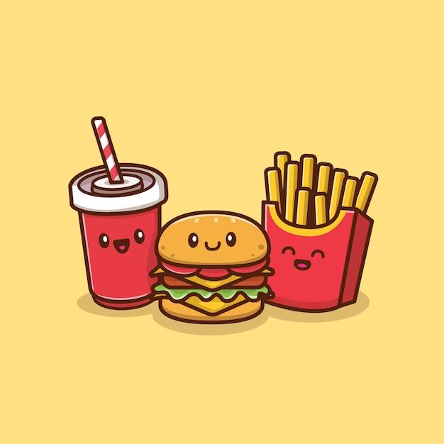 Burger Mignon Avec Soda Et Frites Icone Icone Illustration Concept D Icone De Nourriture Et De Boisson Isole Style De Dessin Anime Plat Vecteur Premium