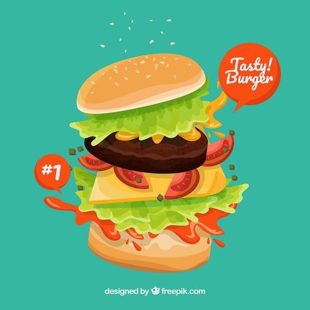 Burger savoureux avec une variété d'ingrédients Vecteur gratuit