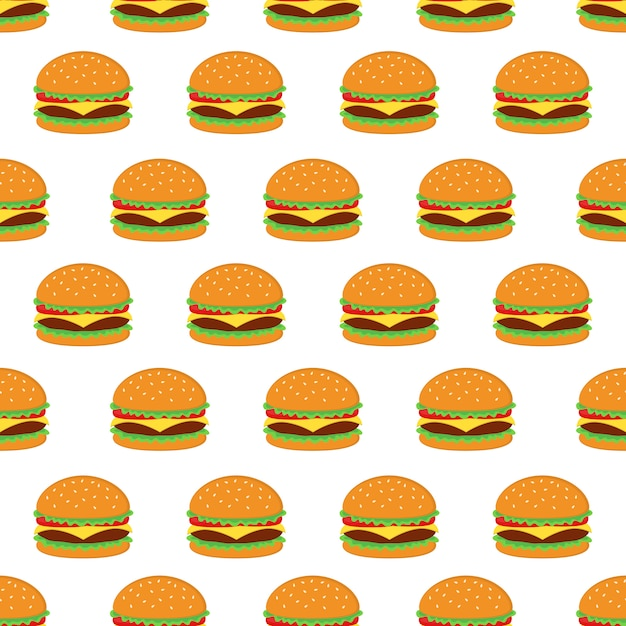 Burger seamless pattern design vectoriel Vecteur Premium