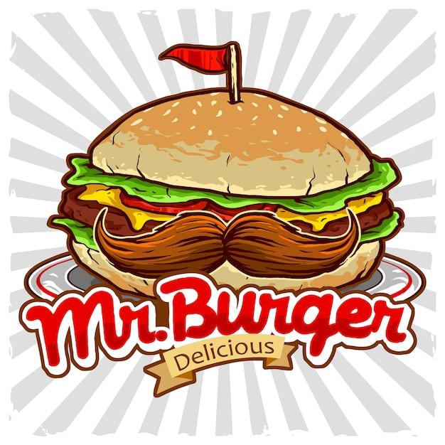 Burger Avec Vecteur De Moustache Pour Le Logo Du Restaurant De Malbouffe Vecteur Premium
