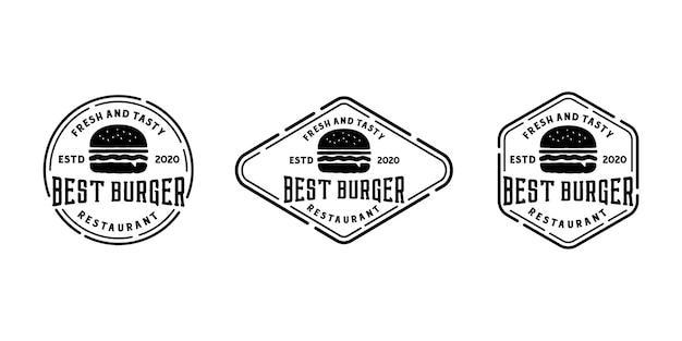 Burger Vintage Rétro Insigne Logo Timbre Ou Joint Autocollant Modèle De Conception De Collection De Jeu Vecteur Premium