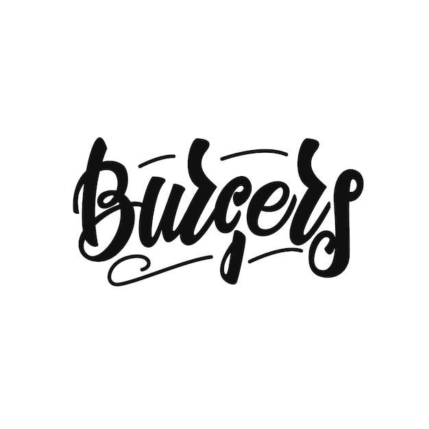 Burgers lettrage Vecteur Premium