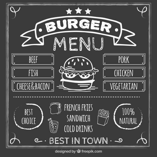 Burguer menu tableau noir Vecteur gratuit