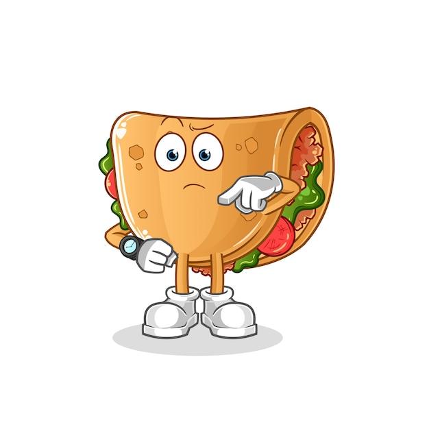 Burrito Avec Dessin Animé De Montre-bracelet. Mascotte De Dessin Animé Vecteur Premium