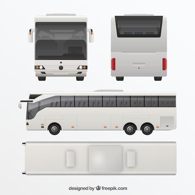 Bus blanc dans différentes vues Vecteur gratuit