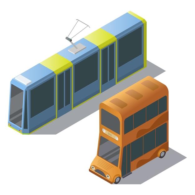 Bus isométrique à deux étages et tram Vecteur gratuit