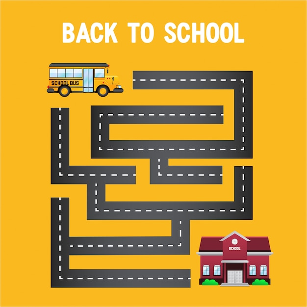 Bus jaune retour à l'école avec le labyrinthe de la route Vecteur Premium