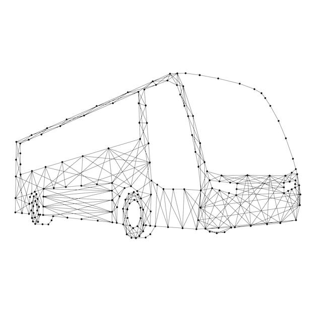 Bus De Lignes Et De Points Noirs Polygonaux Futuristes Abstraits. Vecteur Premium