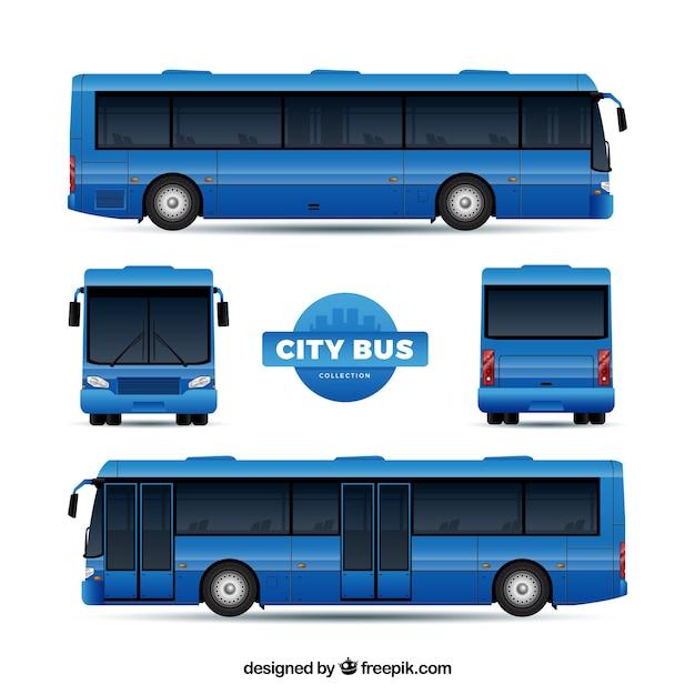 Bus réglé avec différentes perspectives Vecteur gratuit