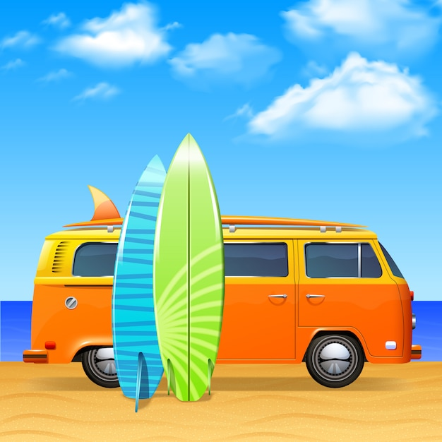 Bus rétro avec des planches de surf Vecteur gratuit