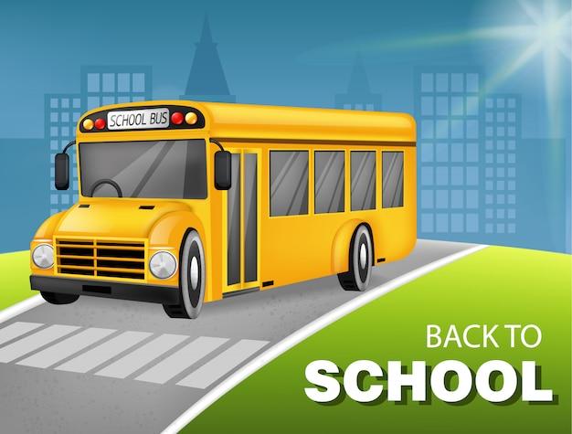 Bus scolaire 3d détaillé Vecteur Premium