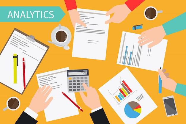 Business analytics et audit financier Vecteur Premium