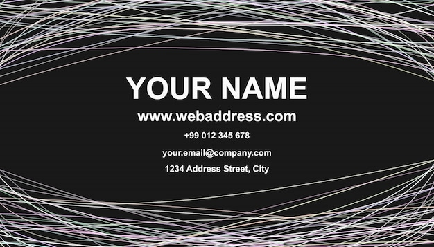 Business Card Template Design Carte Graphique De Carte Vectorielle Avec Rayures Courbes Sur Fond Noir Vecteur Gratuite