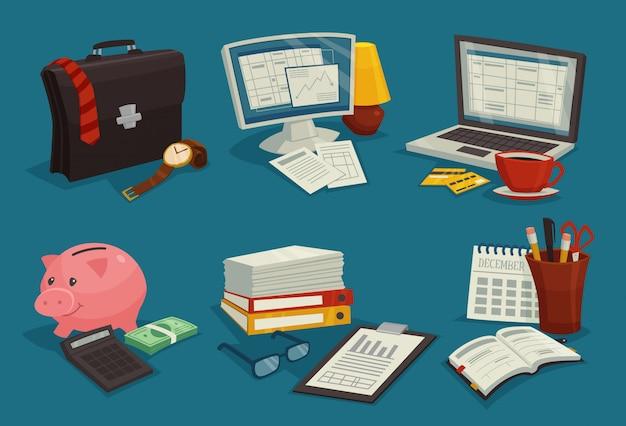 Business cartoon icons set Vecteur gratuit