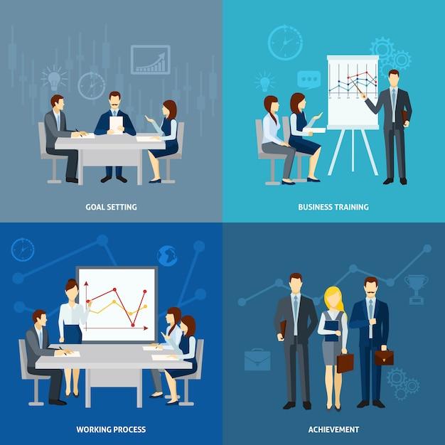 Business coaching 4 carrés icônes carré Vecteur gratuit