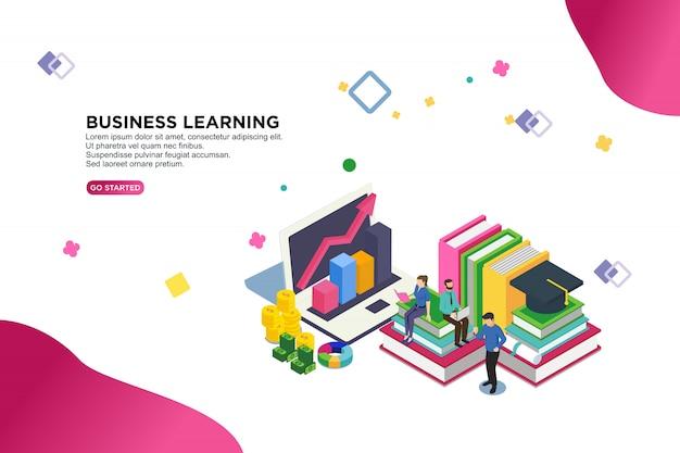 Business concept d'apprentissage illustration vectorielle isométrique Vecteur Premium