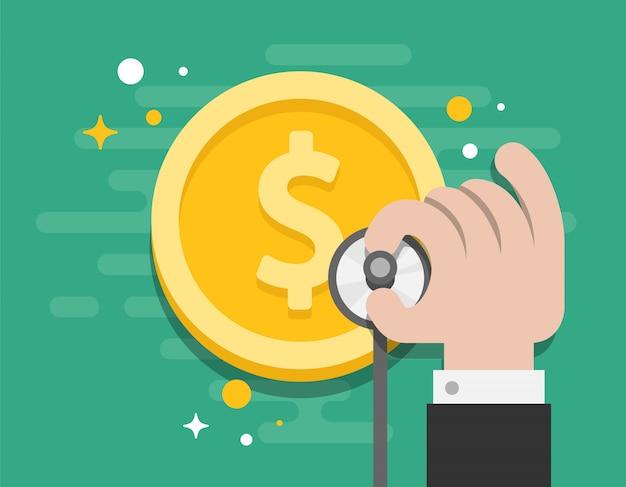 Business consult money check illustrator vector Vecteur Premium