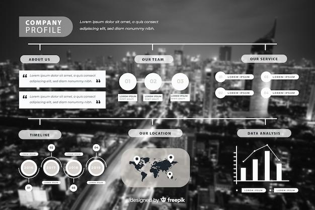 Business design plat infographique avec photo Vecteur gratuit