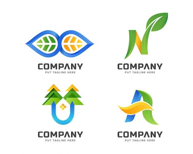 Business green nature, ensemble de modèles de logo spa Vecteur Premium