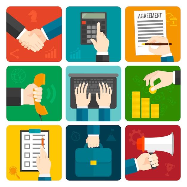 Business hands flat set Vecteur gratuit
