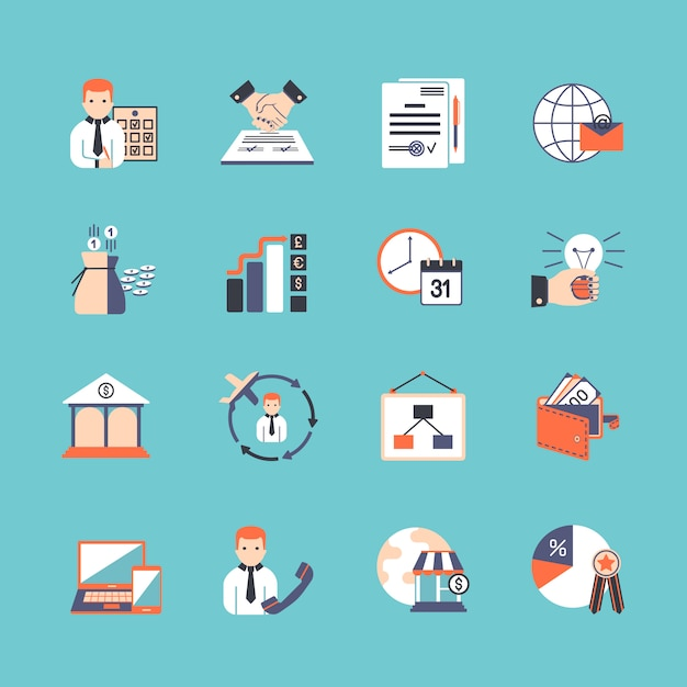 Business icon set Vecteur gratuit