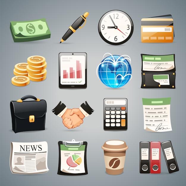 Business icons set Vecteur Premium