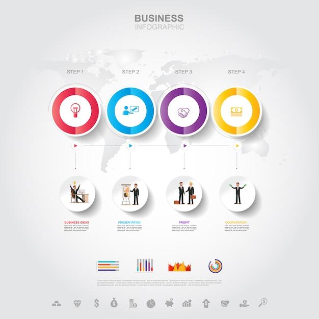 Business infographic concept de réussite commerciale avec graphique Vecteur Premium