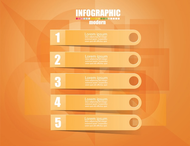 Business infographic template le concept les marches d'escalier. intensifiez la couleur orange. Vecteur Premium