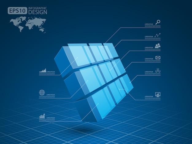 Business Infographie Cube 3d, Vector Vecteur Premium