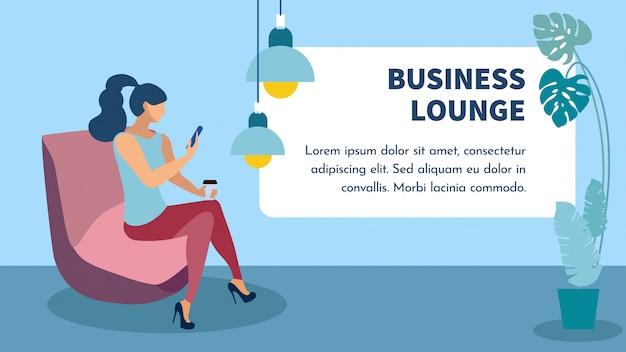 Business lounge zone bannière Vecteur Premium