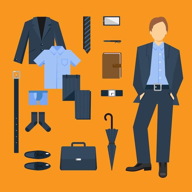 Business Man Set De Vêtements Et Accessoires Vecteur gratuit