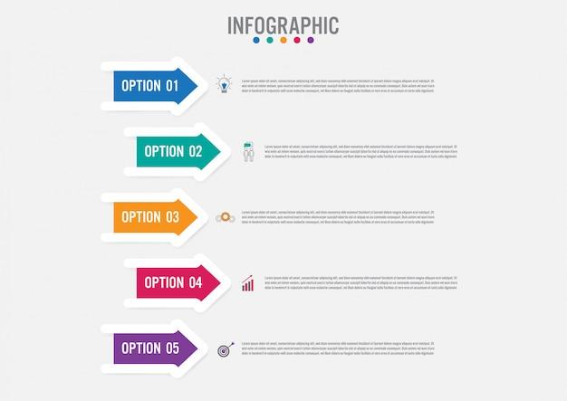 Business modèle infographique avec forme de flèches Vecteur Premium