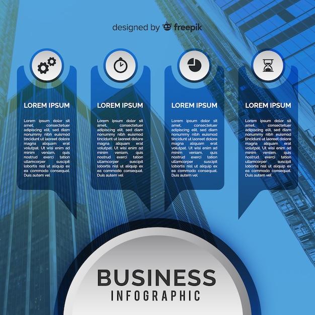 Business modèle infographique avec photo Vecteur gratuit