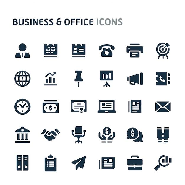 Business & Office Icon Set. Série D'icônes Fillio Black. Vecteur Premium