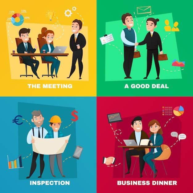 Business people concept set Vecteur gratuit