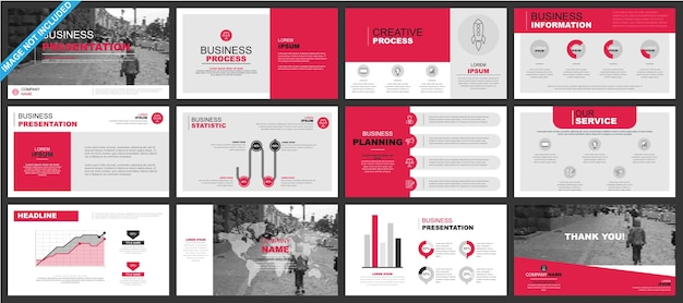 Business powerpoint présentation diapositives modèles à partir d'éléments infographiques. Vecteur Premium