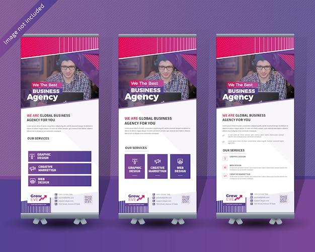 Business roll up banner design Vecteur Premium