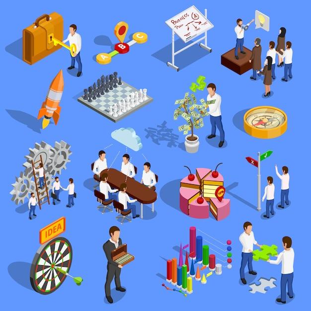 Business strategy icons set Vecteur gratuit