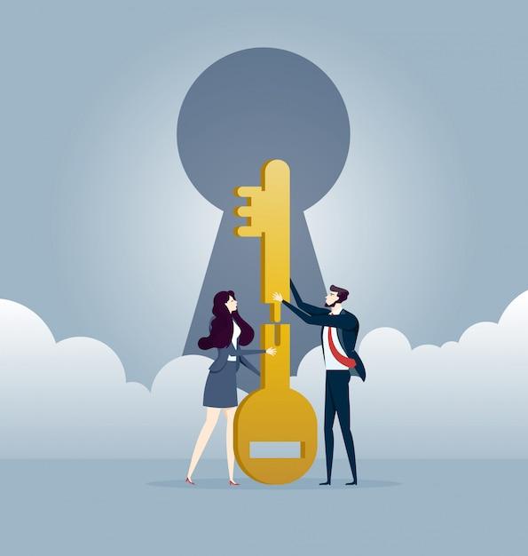 Business teamwork puzzle les clés ensemble. vecteur de concept d'affaires Vecteur Premium