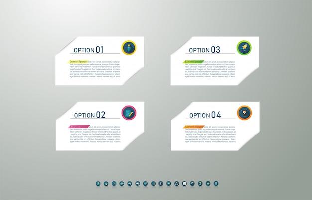 Business template 4 élément ou étapes élément de graphique infographique. Vecteur Premium