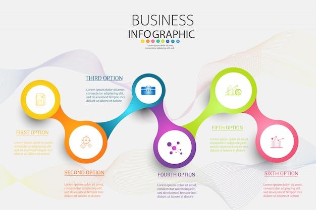 Business template 6 élément ou étapes élément de graphique infographique. Vecteur Premium